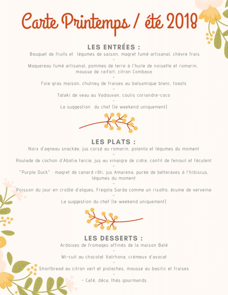 Carte printemps été 2018 du restaurant Bistro Volney à Rennes