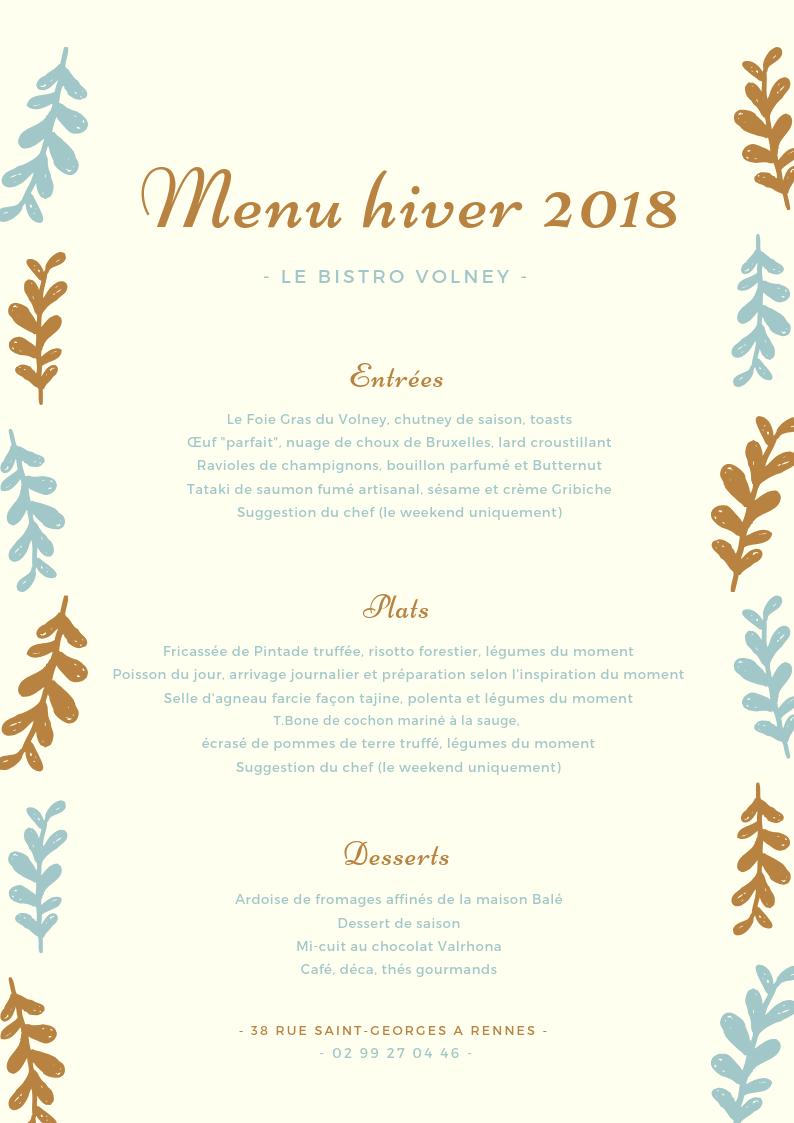 menu hiver du bistro volney