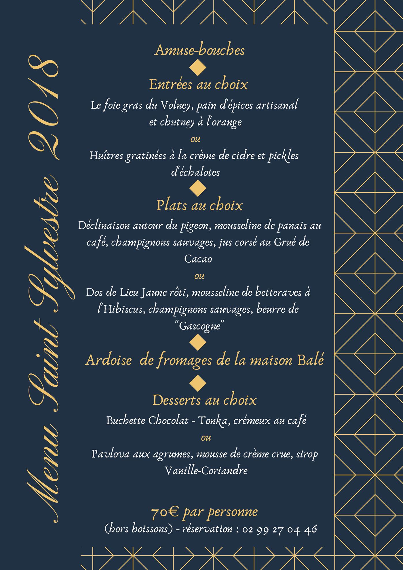 menu de la saint Sylvestre du nouvel an au Bistro Volney